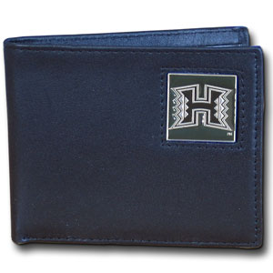 College Leather Bifold - Hawaii Rainbow Warriors - This Hawaii Rainbow Warriors college Bi-fold wallet is made of high quality fine grain leather and includes credit card slots and photo sleeves. School logo is sculpted and enameled with fine detail on the front panel.  Thank you for shopping with CrazedOutSports.com