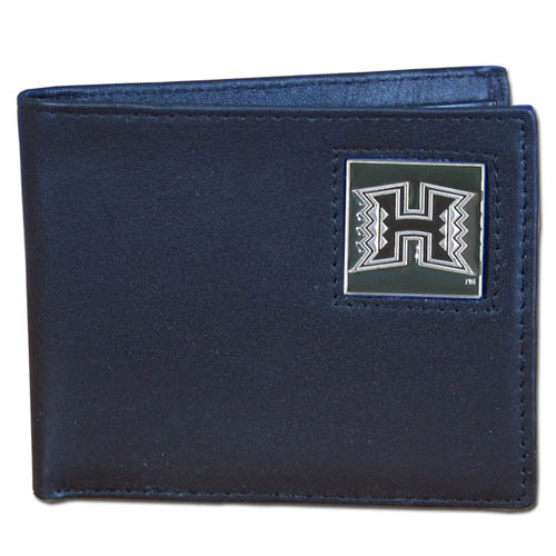 College Bi-fold Wallet Boxed - Hawaii Rainbow Warriors - Our Hawaii Rainbow Warriors college Bi-fold wallet is made of high quality fine grain leather and includes credit card slots and photo sleeves. School logo is sculpted and enameled with fine detail on the front panel. Packaged in a window box. Thank you for shopping with CrazedOutSports.com