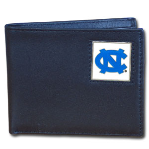 College Bi-fold Wallet Boxed - North Carolina Tar Heels - Our  college Bi-fold wallet is made of high quality fine grain leather and includes credit card slots and photo sleeves. School logo is sculpted and enameled with fine detail on the front panel. Packaged in a window box. Thank you for shopping with CrazedOutSports.com
