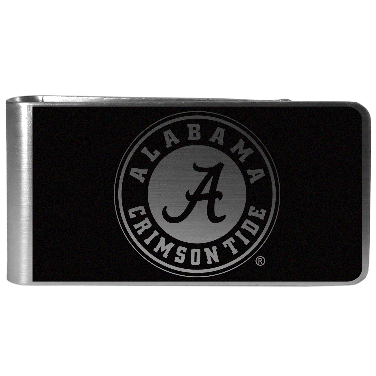 Alabama Crimson Tide Black and Steel Money Clip - Our monochromatic steel money clips have a classic style and superior quality. The strong, steel clip has a black overlay of the Alabama Crimson Tide logo over the brushed metal finish creating a stylish men's fashion accessory that would make any fan proud.