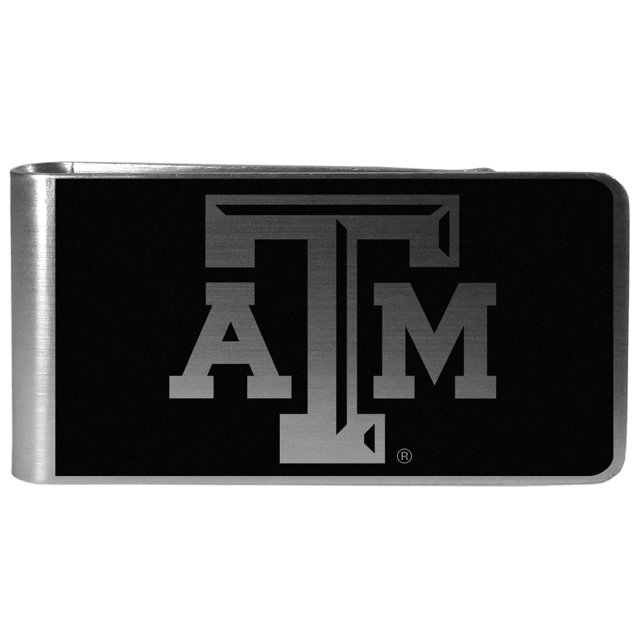 Texas A and M Aggies Black and Steel Money Clip - Our monochromatic steel money clips have a classic style and superior quality. The strong, steel clip has a black overlay of the Texas A & M Aggies logo over the brushed metal finish creating a stylish men's fashion accessory that would make any fan proud.