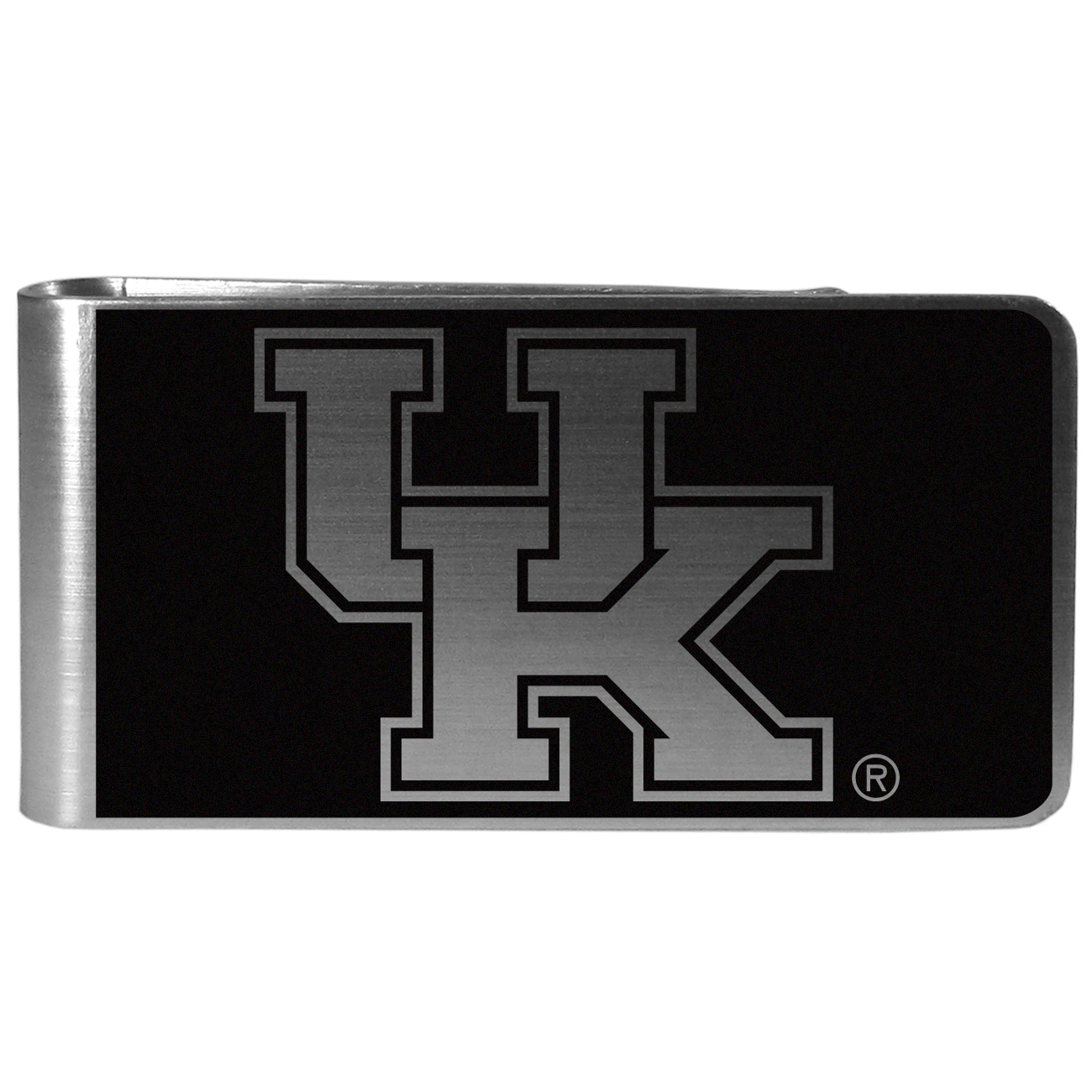 Kentucky Wildcats Black and Steel Money Clip - Our monochromatic steel money clips have a classic style and superior quality. The strong, steel clip has a black overlay of the Kentucky Wildcats logo over the brushed metal finish creating a stylish men's fashion accessory that would make any fan proud.