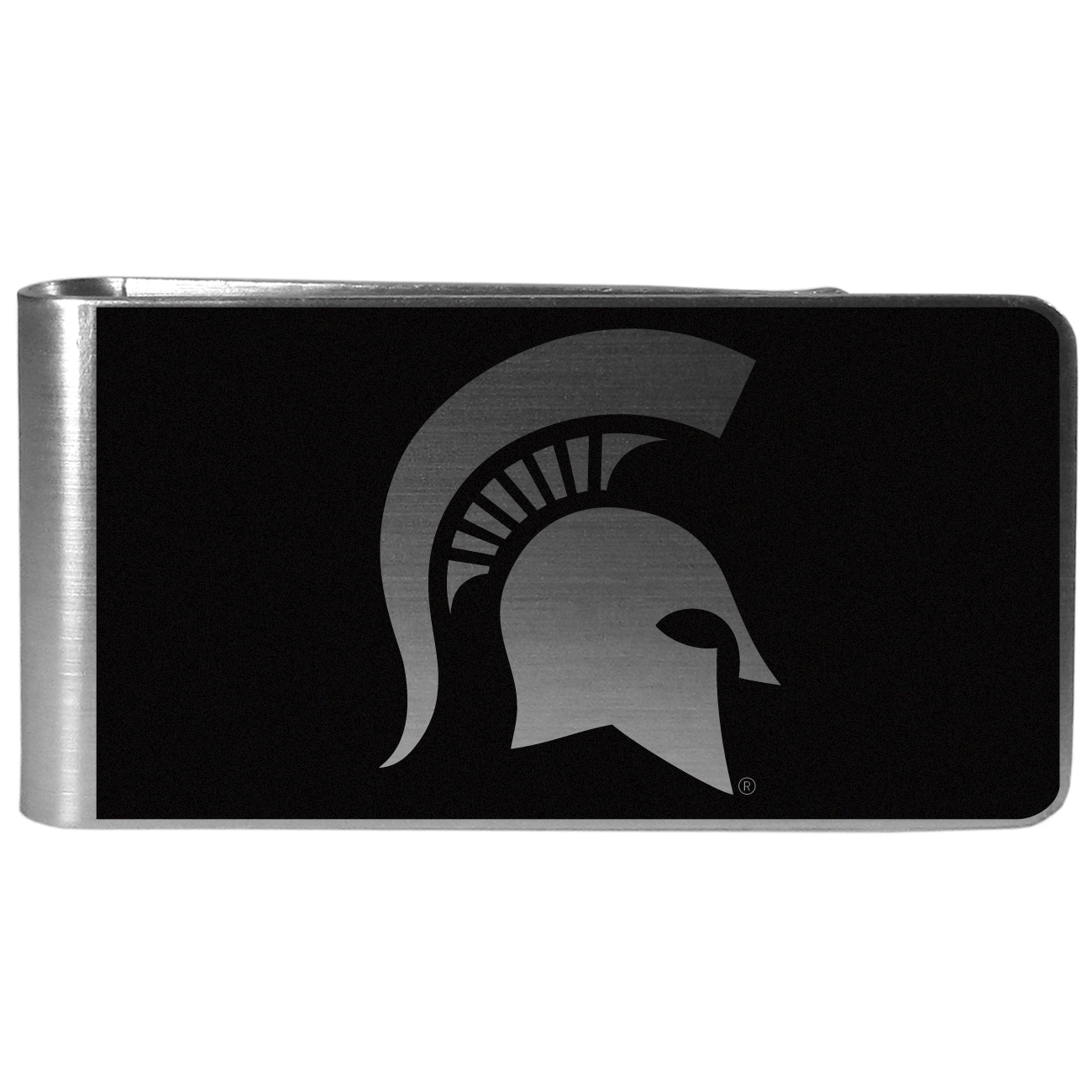 Michigan St. Spartans Black and Steel Money Clip - Our monochromatic steel money clips have a classic style and superior quality. The strong, steel clip has a black overlay of the Michigan St. Spartans logo over the brushed metal finish creating a stylish men's fashion accessory that would make any fan proud.