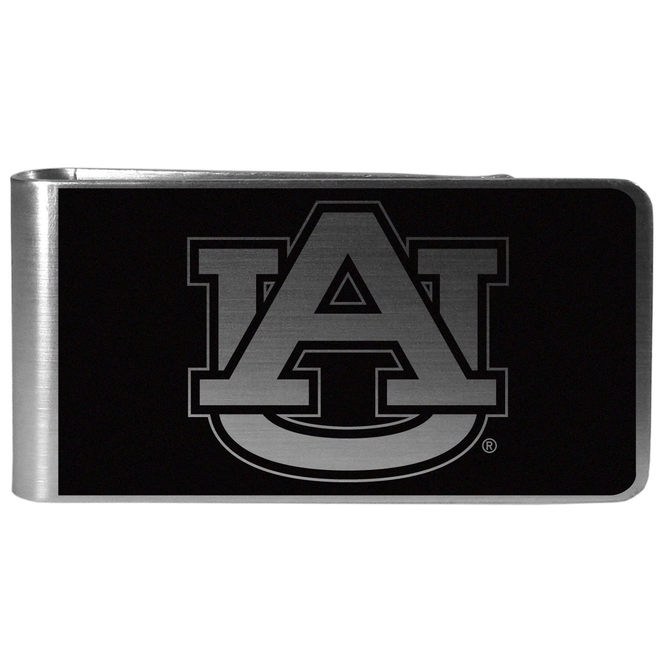 Auburn Tigers Black and Steel Money Clip - Our monochromatic steel money clips have a classic style and superior quality. The strong, steel clip has a black overlay of the Auburn Tigers logo over the brushed metal finish creating a stylish men's fashion accessory that would make any fan proud.