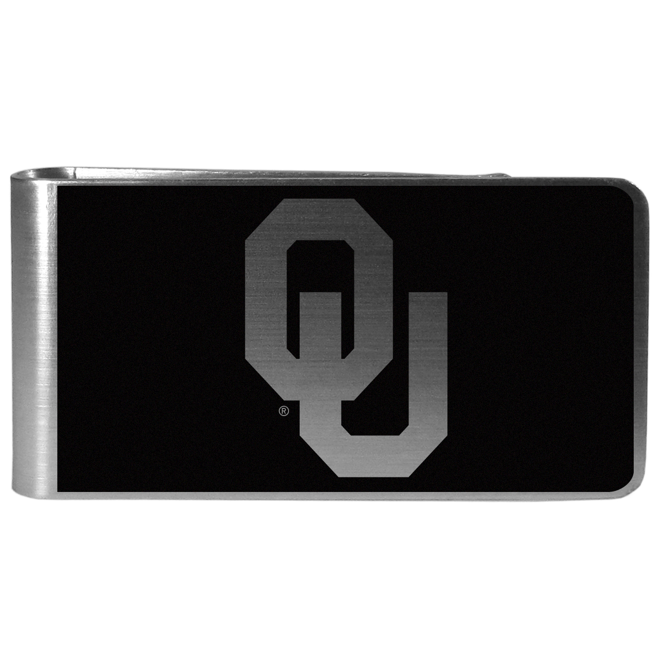 Oklahoma Sooners Black and Steel Money Clip - Our monochromatic steel money clips have a classic style and superior quality. The strong, steel clip has a black overlay of the Oklahoma Sooners logo over the brushed metal finish creating a stylish men's fashion accessory that would make any fan proud.