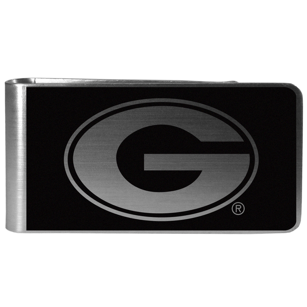 Georgia Bulldogs Black and Steel Money Clip - Our monochromatic steel money clips have a classic style and superior quality. The strong, steel clip has a black overlay of the Georgia Bulldogs logo over the brushed metal finish creating a stylish men's fashion accessory that would make any fan proud.