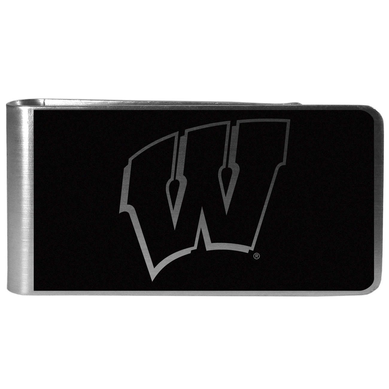 Wisconsin Badgers Black and Steel Money Clip - Our monochromatic steel money clips have a classic style and superior quality. The strong, steel clip has a black overlay of the Wisconsin Badgers logo over the brushed metal finish creating a stylish men's fashion accessory that would make any fan proud.