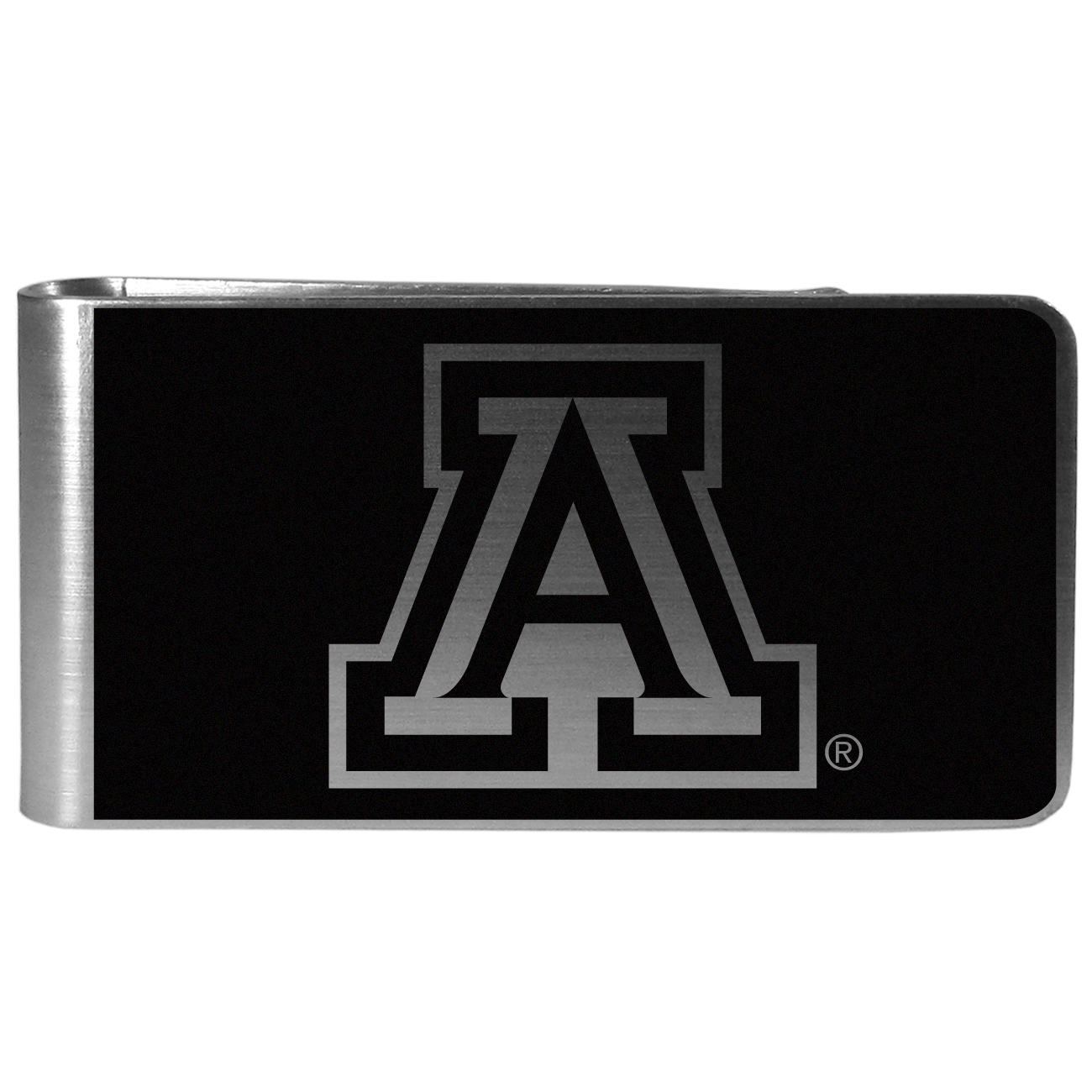 Arizona Wildcats Black and Steel Money Clip - Our monochromatic steel money clips have a classic style and superior quality. The strong, steel clip has a black overlay of the Arizona Wildcats logo over the brushed metal finish creating a stylish men's fashion accessory that would make any fan proud.