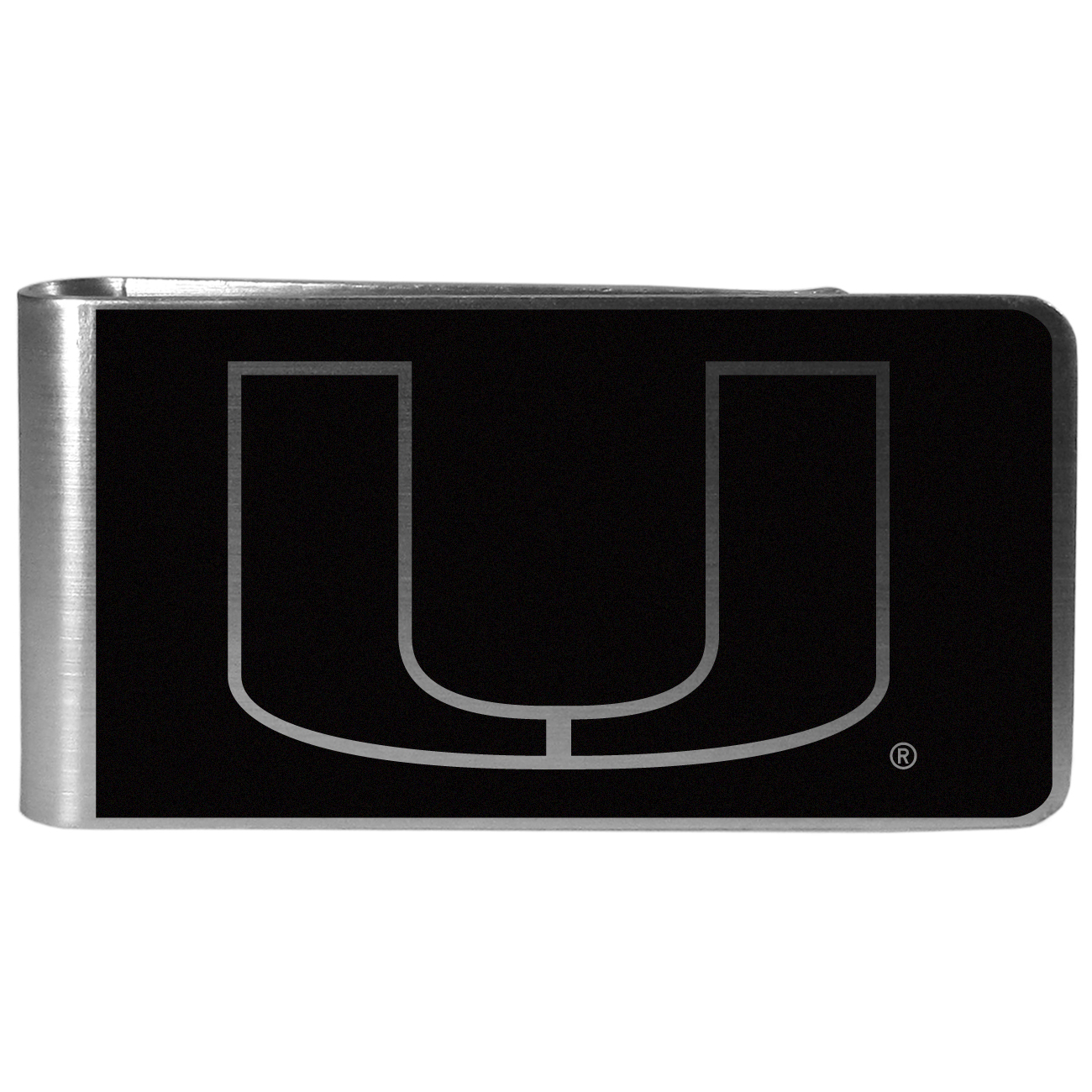 Miami Hurricanes Black and Steel Money Clip - Our monochromatic steel money clips have a classic style and superior quality. The strong, steel clip has a black overlay of the Miami Hurricanes logo over the brushed metal finish creating a stylish men's fashion accessory that would make any fan proud.