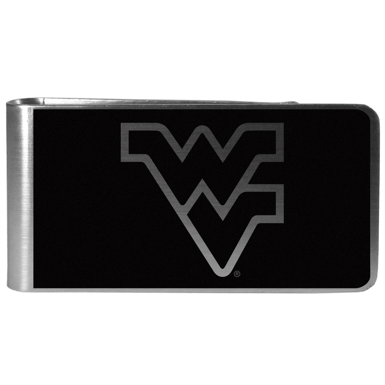 W. Virginia Mountaineers Black and Steel Money Clip - Our monochromatic steel money clips have a classic style and superior quality. The strong, steel clip has a black overlay of the W. Virginia Mountaineers logo over the brushed metal finish creating a stylish men's fashion accessory that would make any fan proud.