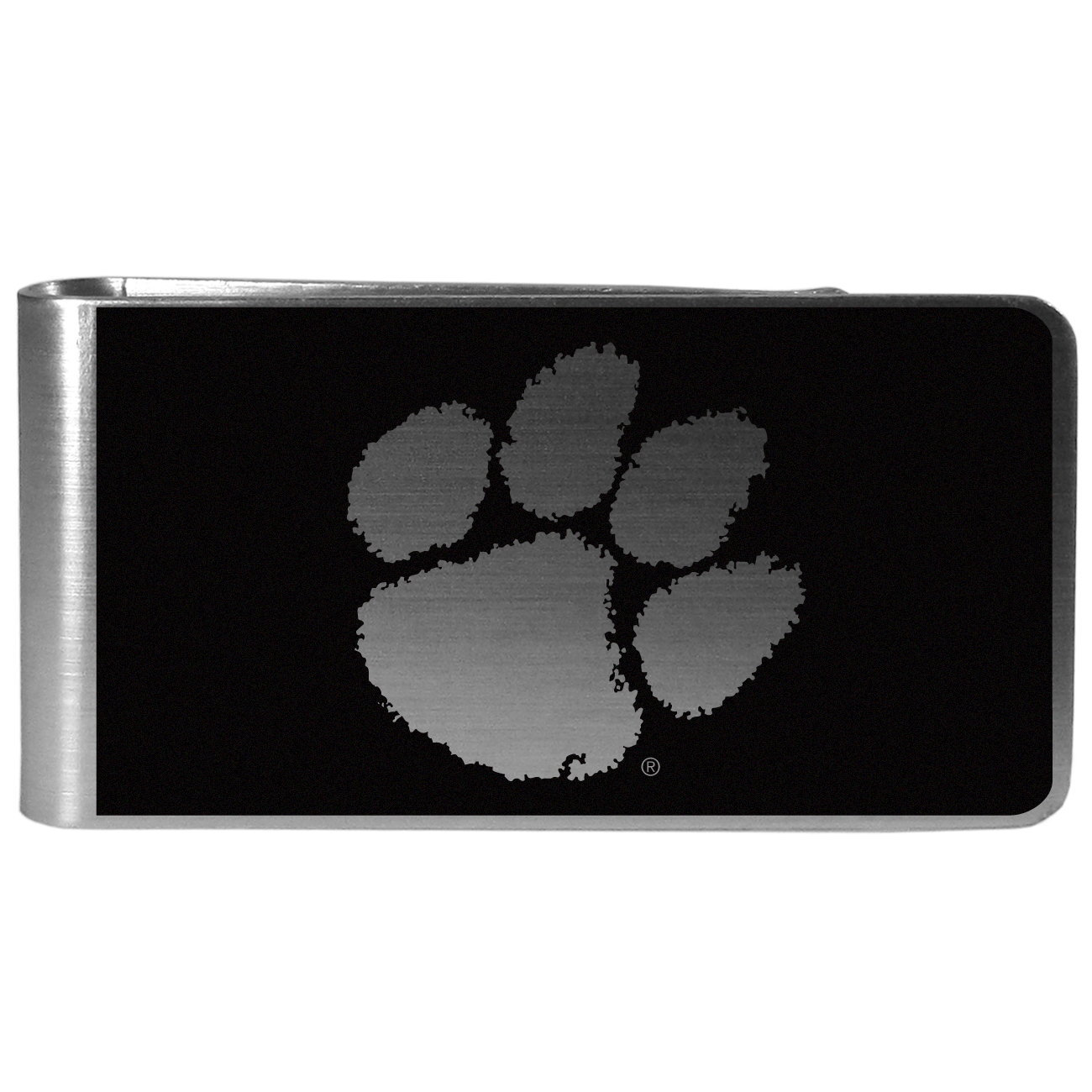 Clemson Tigers Black and Steel Money Clip - Our monochromatic steel money clips have a classic style and superior quality. The strong, steel clip has a black overlay of the Clemson Tigers logo over the brushed metal finish creating a stylish men's fashion accessory that would make any fan proud.