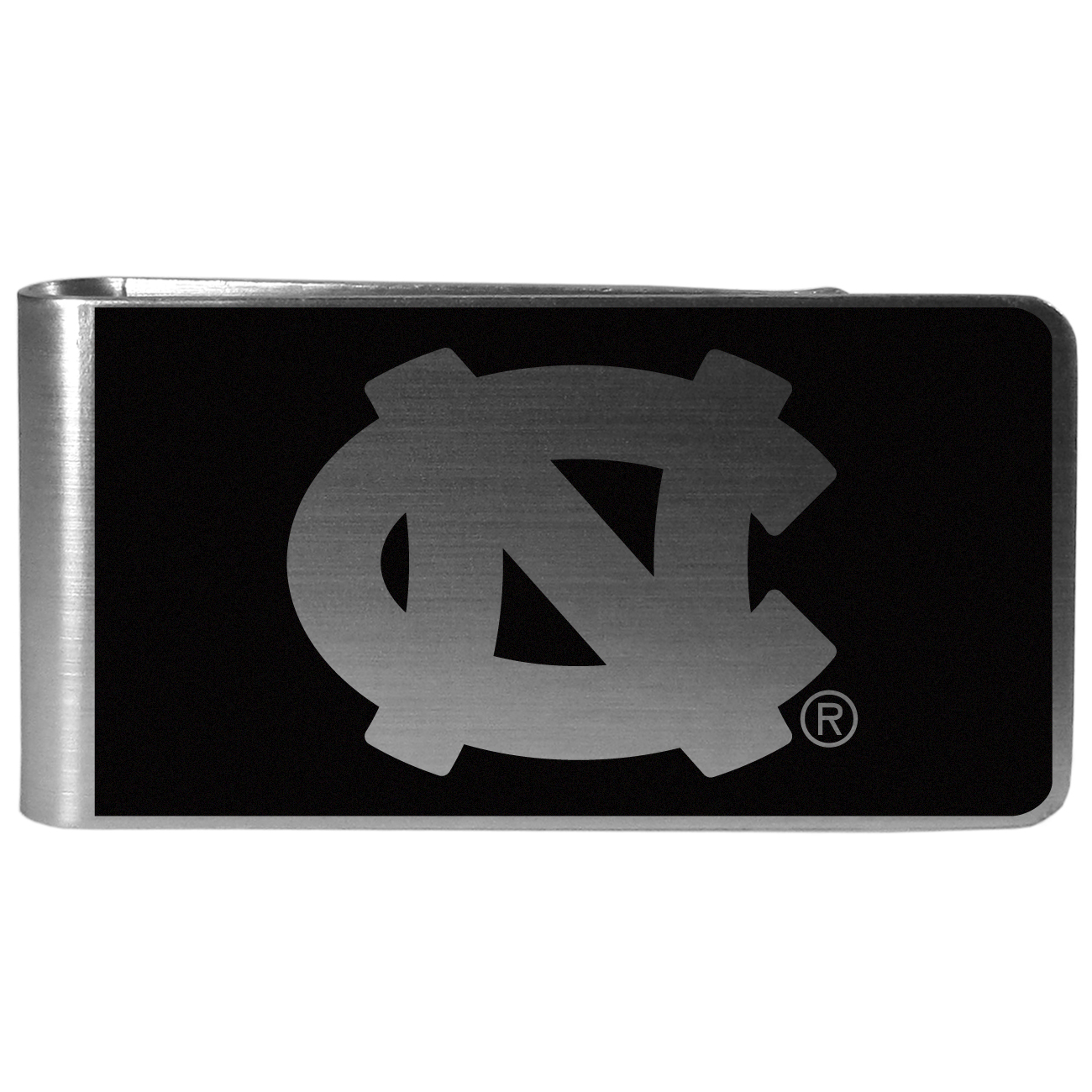 N. Carolina Tar Heels Black and Steel Money Clip - Our monochromatic steel money clips have a classic style and superior quality. The strong, steel clip has a black overlay of the N. Carolina Tar Heels logo over the brushed metal finish creating a stylish men's fashion accessory that would make any fan proud.