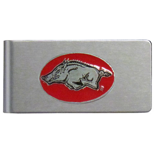 Arkansas Razorbacks Brushed Money Clip - This quality college money clip has a brushed metal finish and features a fully cast and hand enameled school logo. Thank you for shopping with CrazedOutSports.com
