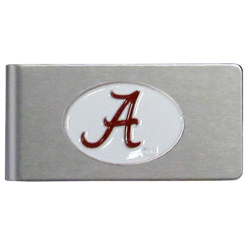 Alabama Crimson Tide Brushed Money Clip - This quality Alabama Crimson Tide college money clip has a brushed metal finish and features a fully cast and hand enameled school logo. Thank you for shopping with CrazedOutSports.com