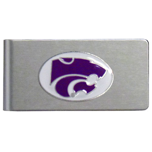 Kansas St. Wildcats Brushed Steel Money Clip - This quality Kansas St. Wildcats college money clip has a brushed metal finish and features a fully cast and hand enameled school logo. Thank you for shopping with CrazedOutSports.com