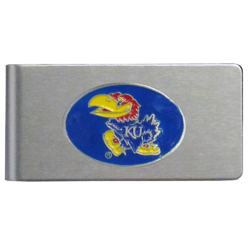 Kansas Jayhawks Brushed Money Clip - This quality Kansas Jayhawks college money clip has a brushed metal finish and features a fully cast and hand enameled school logo. Thank you for shopping with CrazedOutSports.com
