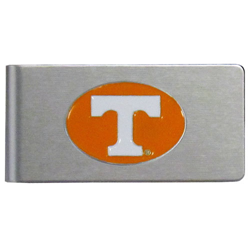 Tennessee Brushed Money Clip - This quality college money clip has a brushed metal finish and features a fully cast and hand enameled school logo. Thank you for shopping with CrazedOutSports.com
