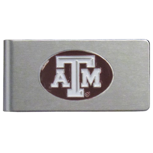 Texas A and M Brushed Money Clip - This quality college money clip has a brushed metal finish and features a fully cast and hand enameled school logo. Thank you for shopping with CrazedOutSports.com