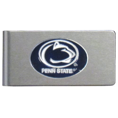 Penn St. Brushed Money Clip - This quality college money clip has a brushed metal finish and features a fully cast and hand enameled school logo. Thank you for shopping with CrazedOutSports.com