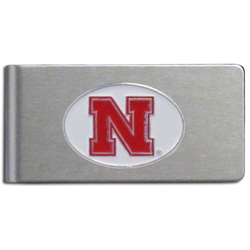 Nebraska Brushed Money Clip - This quality college money clip has a brushed metal finish and features a fully cast and hand enameled school logo. Thank you for shopping with CrazedOutSports.com