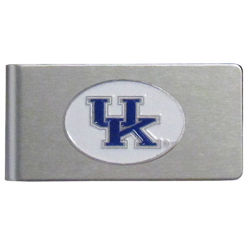 Kentucky Brushed Money Clip - This quality college money clip has a brushed metal finish and features a fully cast and hand enameled school logo. Thank you for shopping with CrazedOutSports.com