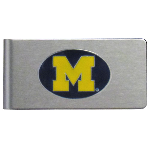 Michigan Wolverines Brushed Money Clip - This quality college Michigan Wolverines Brushed Money Clip has a brushed metal finish and features a fully cast and hand enameled school logo. Thank you for shopping with CrazedOutSports.com