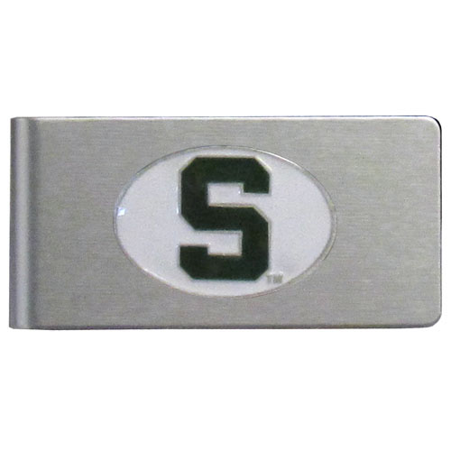 Michigan St. Spartans Brushed Money Clip - This quality college Michigan St. Spartans Brushed Money Clip has a brushed metal finish and features a fully cast and hand enameled school logo. Thank you for shopping with CrazedOutSports.com