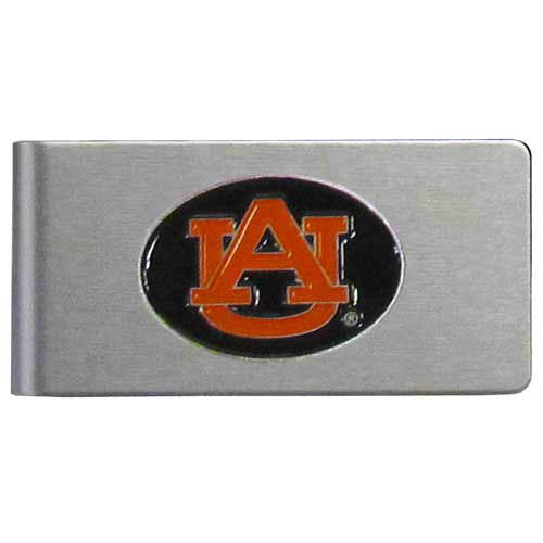 Auburn Tigers Brushed Money Clip - This quality college money clip has a brushed metal finish and features a fully cast and hand enameled Auburn Tigers school logo. Thank you for shopping with CrazedOutSports.com