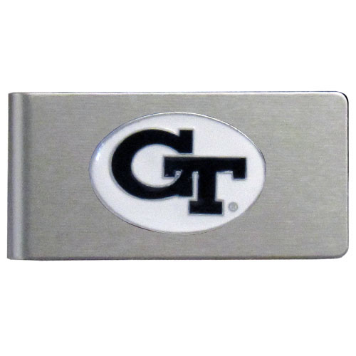 Georgia Tech Brushed Money Clip - This quality college money clip has a brushed metal finish and features a fully cast and hand enameled school logo. Thank you for shopping with CrazedOutSports.com