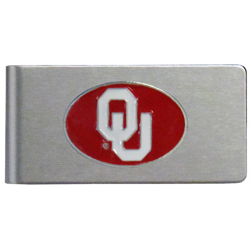 Oklahoma Brushed Money Clip - This quality college money clip has a brushed metal finish and features a fully cast and hand enameled school logo. Thank you for shopping with CrazedOutSports.com