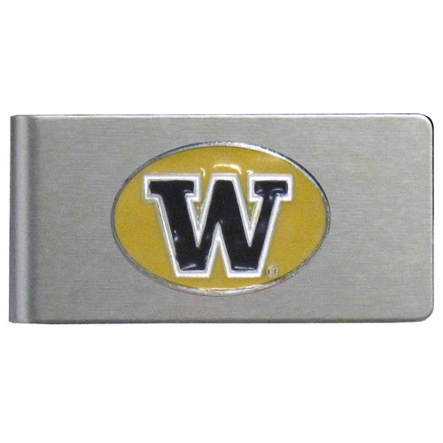 Washington Brushed Money Clip - This quality college money clip has a brushed metal finish and features a fully cast and hand enameled school logo. Thank you for shopping with CrazedOutSports.com