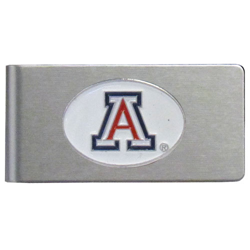 Arizona Brushed Money Clip - This quality college money clip has a brushed metal finish and features a fully cast and hand enameled school logo. Thank you for shopping with CrazedOutSports.com
