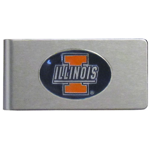 Illinois Fighting Illini Brushed Money Clip - This quality Illinois Fighting Illini college money clip has a brushed metal finish and features a fully cast and hand enameled school logo. Thank you for shopping with CrazedOutSports.com