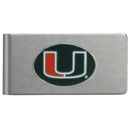 Miami Hurricanes Brushed Money Clip - This quality college Miami Hurricanes money clip has a brushed metal finish and features a fully cast and hand enameled school logo. Thank you for shopping with CrazedOutSports.com