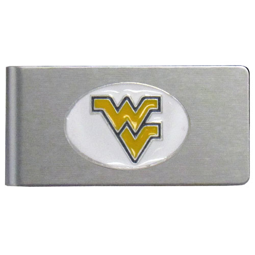 W. Virginia Brushed Money Clip - This quality college money clip has a brushed metal finish and features a fully cast and hand enameled school logo. Thank you for shopping with CrazedOutSports.com