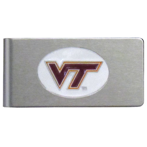 Virginia Tech Brushed Money Clip - This quality college money clip has a brushed metal finish and features a fully cast and hand enameled school logo. Thank you for shopping with CrazedOutSports.com
