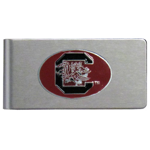 S. Carolina Brushed Money Clip - This quality college money clip has a brushed metal finish and features a fully cast and hand enameled school logo. Thank you for shopping with CrazedOutSports.com