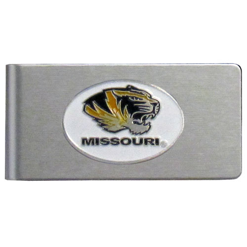 Missouri Brushed Money Clip - This quality college money clip has a brushed metal finish and features a fully cast and hand enameled school logo. Thank you for shopping with CrazedOutSports.com