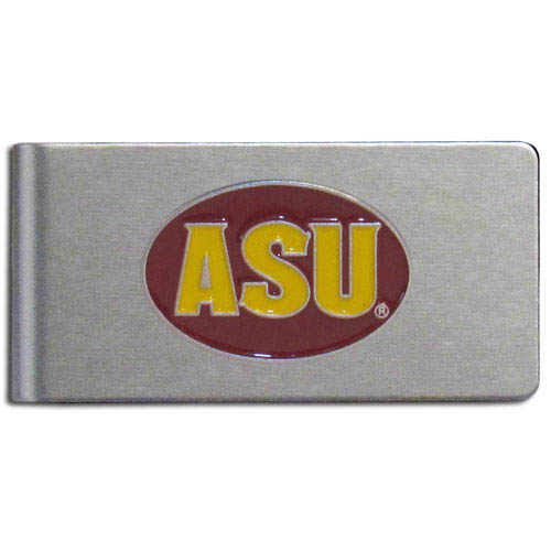 Arizona St. Sun Devils Brushed Money Clip - This quality college money clip has a brushed metal finish and features a fully cast and hand enameled Arizona St. Sun Devils school logo. Thank you for shopping with CrazedOutSports.com