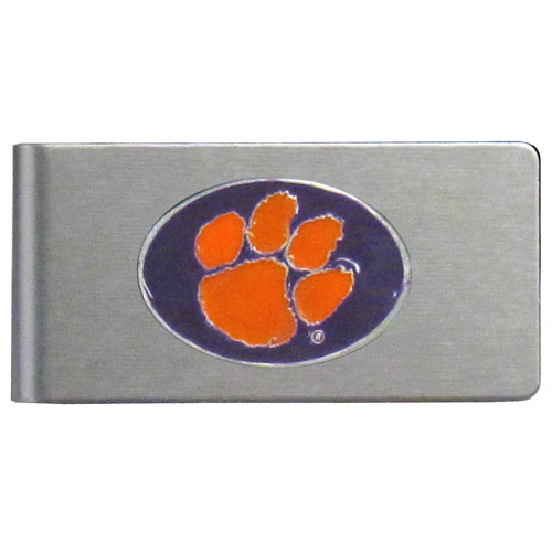Clemson Tigers Brushed Money Clip - This quality college money clip has a brushed metal finish and features a fully cast and hand enameled Clemson Tigers school logo. Thank you for shopping with CrazedOutSports.com