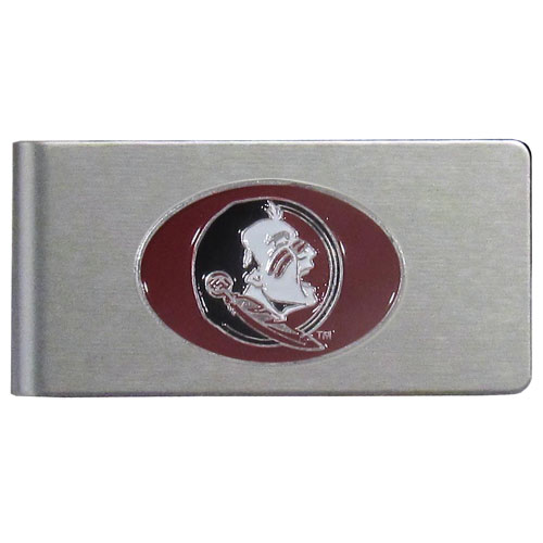 Florida State Seminoles Brushed Money Clip - This quality college money clip has a brushed metal finish and features a fully cast and hand enameled Florida State Seminoles logo. Thank you for shopping with CrazedOutSports.com