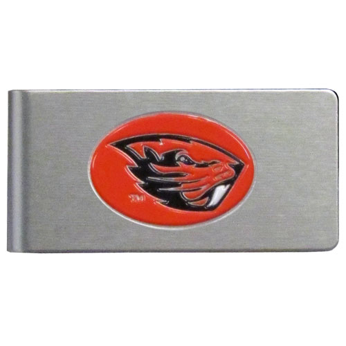 Oregon St. Brushed Money Clip - This quality college money clip has a brushed metal finish and features a fully cast and hand enameled school logo. Thank you for shopping with CrazedOutSports.com