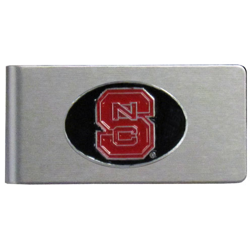 N. Carolina St. Brushed Money Clip - This quality college money clip has a brushed metal finish and features a fully cast and hand enameled school logo. Thank you for shopping with CrazedOutSports.com