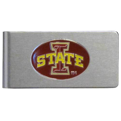 Iowa St. Cyclones Brushed Money Clip - This quality Iowa St. Cyclones college money clip has a brushed metal finish and features a fully cast and hand enameled Iowa St. Cyclones logo. Thank you for shopping with CrazedOutSports.com