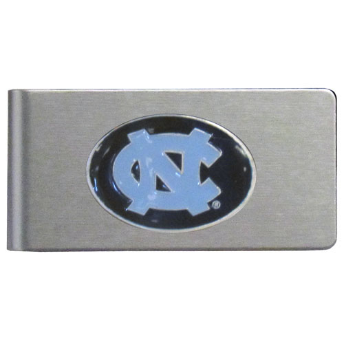 N. Carolina Brushed Money Clip - This quality college money clip has a brushed metal finish and features a fully cast and hand enameled school logo. Thank you for shopping with CrazedOutSports.com