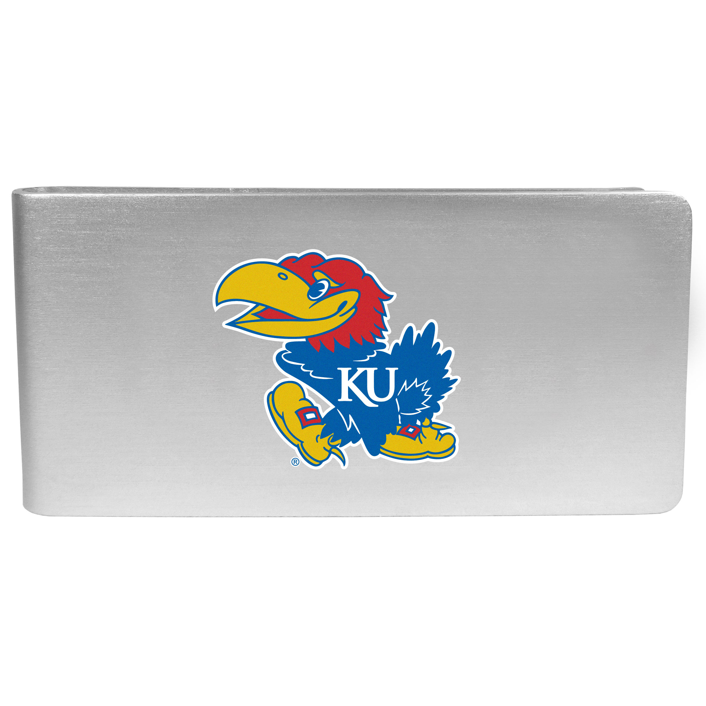 Kansas Jayhawks Logo Money Clip - Our brushed metal money clip has classic style and functionality. The attractive clip features the Kansas Jayhawks logo expertly printed on front.