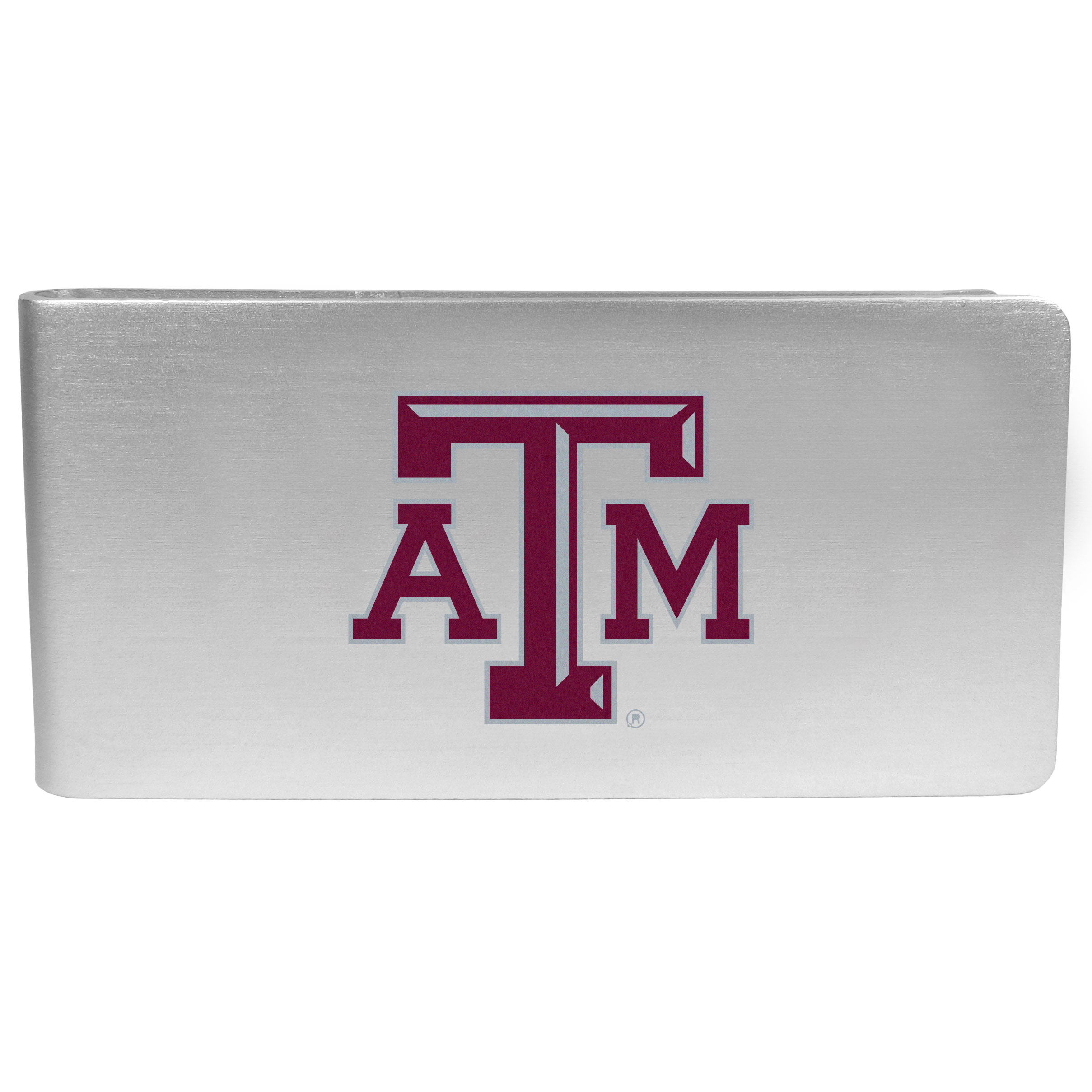 Texas A and M Aggies Logo Money Clip - Our brushed metal money clip has classic style and functionality. The attractive clip features the Texas A & M Aggies logo expertly printed on front.
