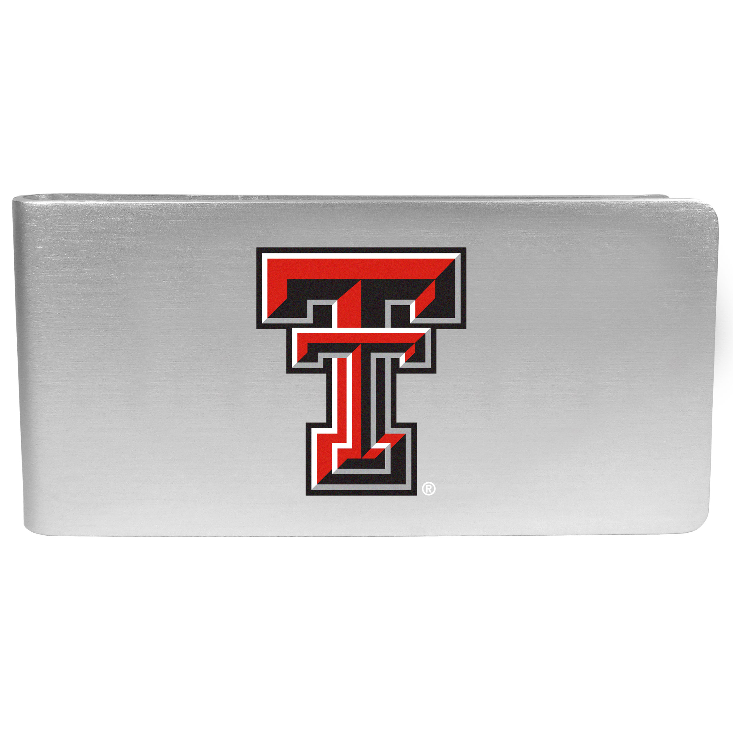 Texas Tech Raiders Logo Money Clip - Our brushed metal money clip has classic style and functionality. The attractive clip features the Texas Tech Raiders logo expertly printed on front.