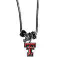 Texas Tech Raiders Euro Bead Necklace - We have combined the wildly popular Euro style beads with your favorite team to create our Texas Tech Raiders bead necklace. The 18 inch snake chain features 4 Euro beads with enameled team colors and rhinestone accents with a high polish, nickel free charm and rhinestone charm. Perfect way to show off your team pride. Thank you for shopping with CrazedOutSports.com
