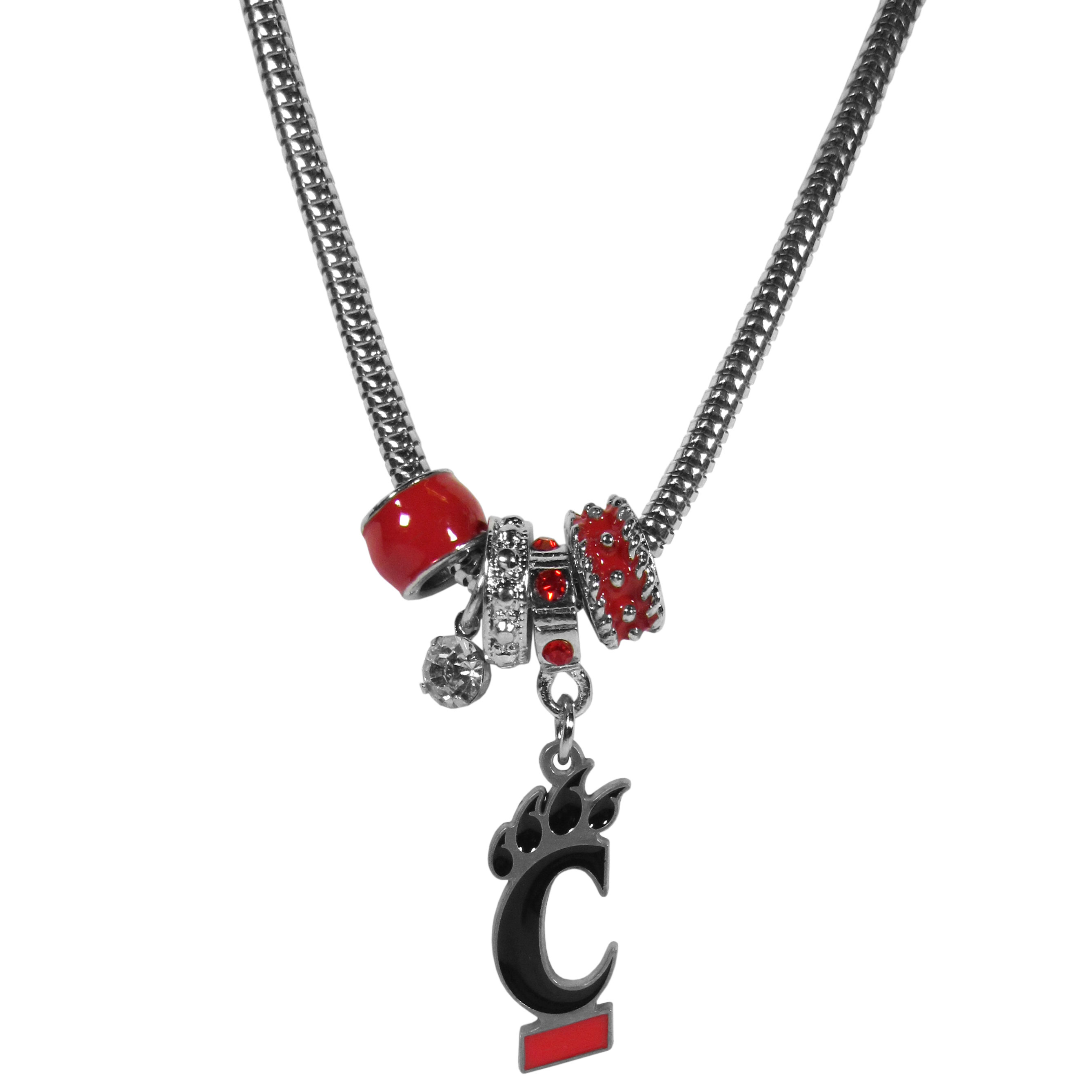 Cincinnati Bearcats Euro Bead Necklace - We have combined the wildly popular Euro style beads with your favorite team to create our Cincinnati Bearcats bead necklace. The 18 inch snake chain features 4 Euro beads with enameled team colors and rhinestone accents with a high polish, nickel free charm and rhinestone charm. Perfect way to show off your team pride.